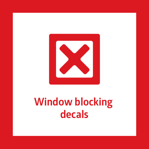 This point criticizes window decals stuck from outside of the shop window. The typical example is a decal that covers the whole shop window and blocks the connection of interior and exterior designed by architect. Some shops need window cover by nature (for ex. banks or casinos). However, there are many ways how to achieve this with interior design and shop window arrangements.