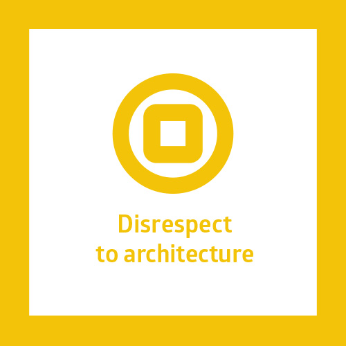 This point is about a connection to architecture and facade. The typical case is too big sign covering facade decoration or even a part of shop window. Ideal shop sign is usually a simple sign or logotype with no bearing surface. If the surface is necessary, it should not disturb the facade tectonics or architecture. All the signs in one house should be unified in material or shape.